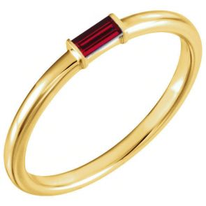 14k Yellow Gold Single Baguette Stackable Ruby Band 0.13ctw 2.0mm