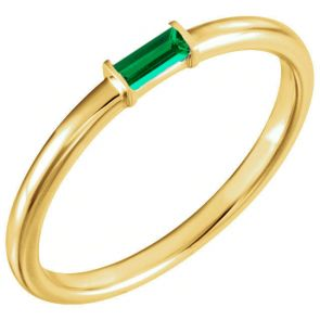 14k Yellow Gold Single Baguette Stackable Emerald Band 0.13ctw 2.0mm