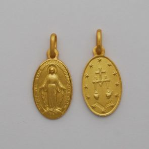 18kt Yellow 38mm Oval Miraculous Medal