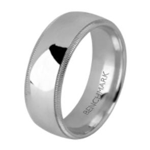 950 Palladium 8mm High Polished Comfort Fit Milgrain Design Wedding Band