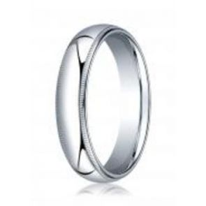 950 Palladium 5mm High Polished Comfort Fit Milgrain design Wedding Band