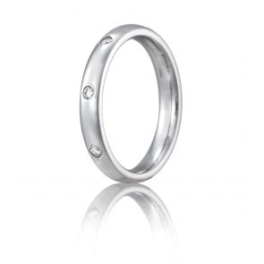 Palladium 3mm Light Comfort-Fit Bezel Set 8-Stone Diamond Eternity Ring (.16ct)