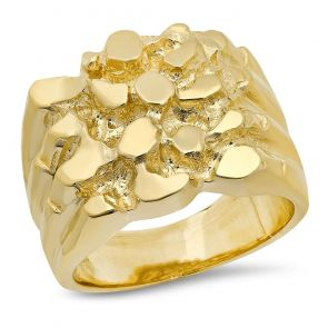 18K Gold Mens 17MM X 18MM Nugget  Ring