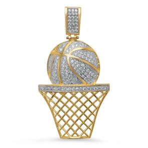 14k Gold Diamond Cut Basketball Pendent Covered With Cubic zirconia (CZ) 2 1/8 Inches