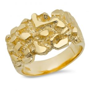 18K Gold Mens 11MM X 19MM Nugget Ring