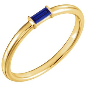 14k Yellow Gold Single Baguette Stackable Sapphire Band 0.17ctw 2.0mm