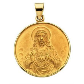 18kt Yellow Gold 24.5mm Sacred Heart Medal