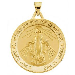 18kt Yellow Gold 21.75mm Round Miraculous Medal