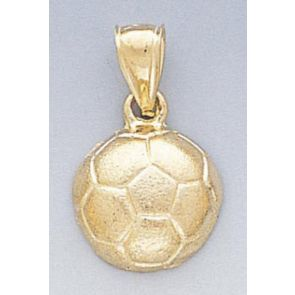 14k Gold Diamond Cut Soccer Ball Pendant 14mm W X 23mm