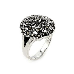 Sterling Silver Flower Design Marcasite Ring