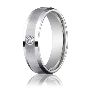 Palladium Diamond Band 6mm.
