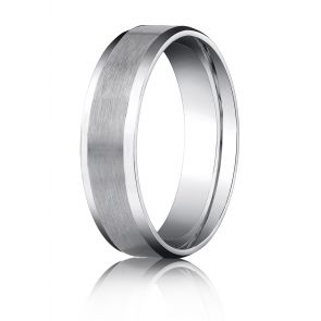 Palladium 6mm Comfort-Fit Satin-Finished with High Polished Beveled Edge Carved Design Band