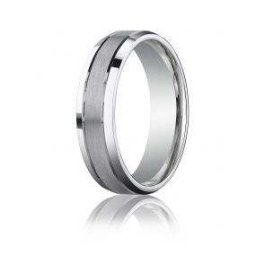 Palladium 6mm Comfort-Fit Satin-Finished High Polished Beveled Edge Carved Design Band