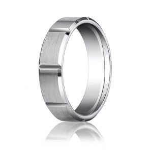 Palladium 6mm Comfort-Fit Satin-Finished Grooves Carved Design Band
