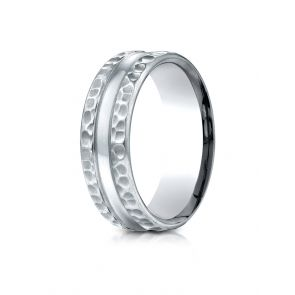 Palladium 7.5mm Comfort Fit Hammered Finish Center Cut Design Band