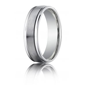 Palladium 6mm Comfort-Fit Satin-Finished High Polished Round Edge Carved Design Band