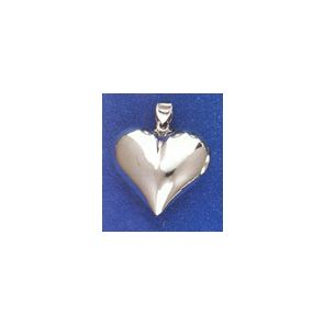 Sterling Silver 32mm Wide Polished Heart Pendant